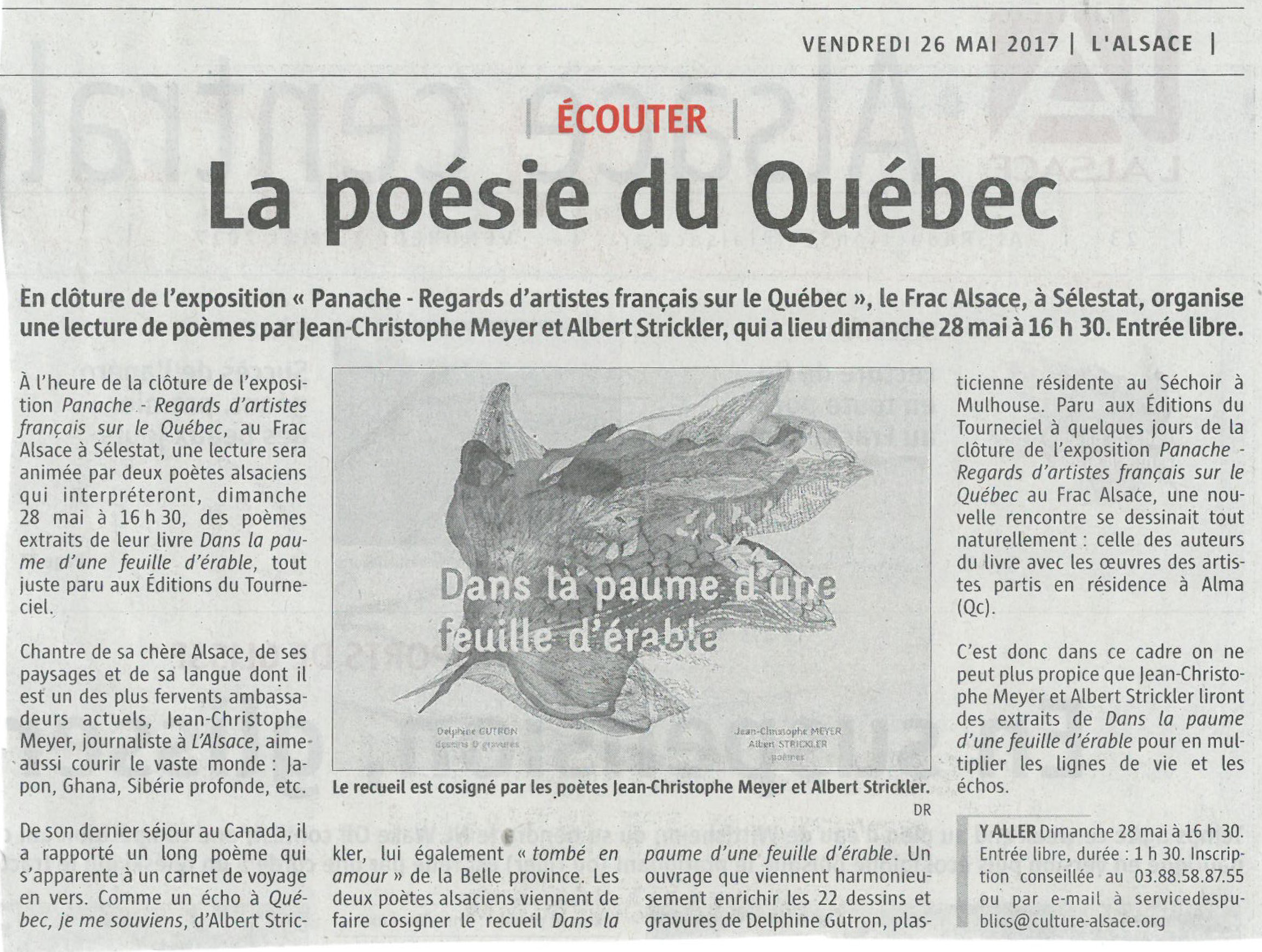Article Journal L'Alsace 26 mai 2017