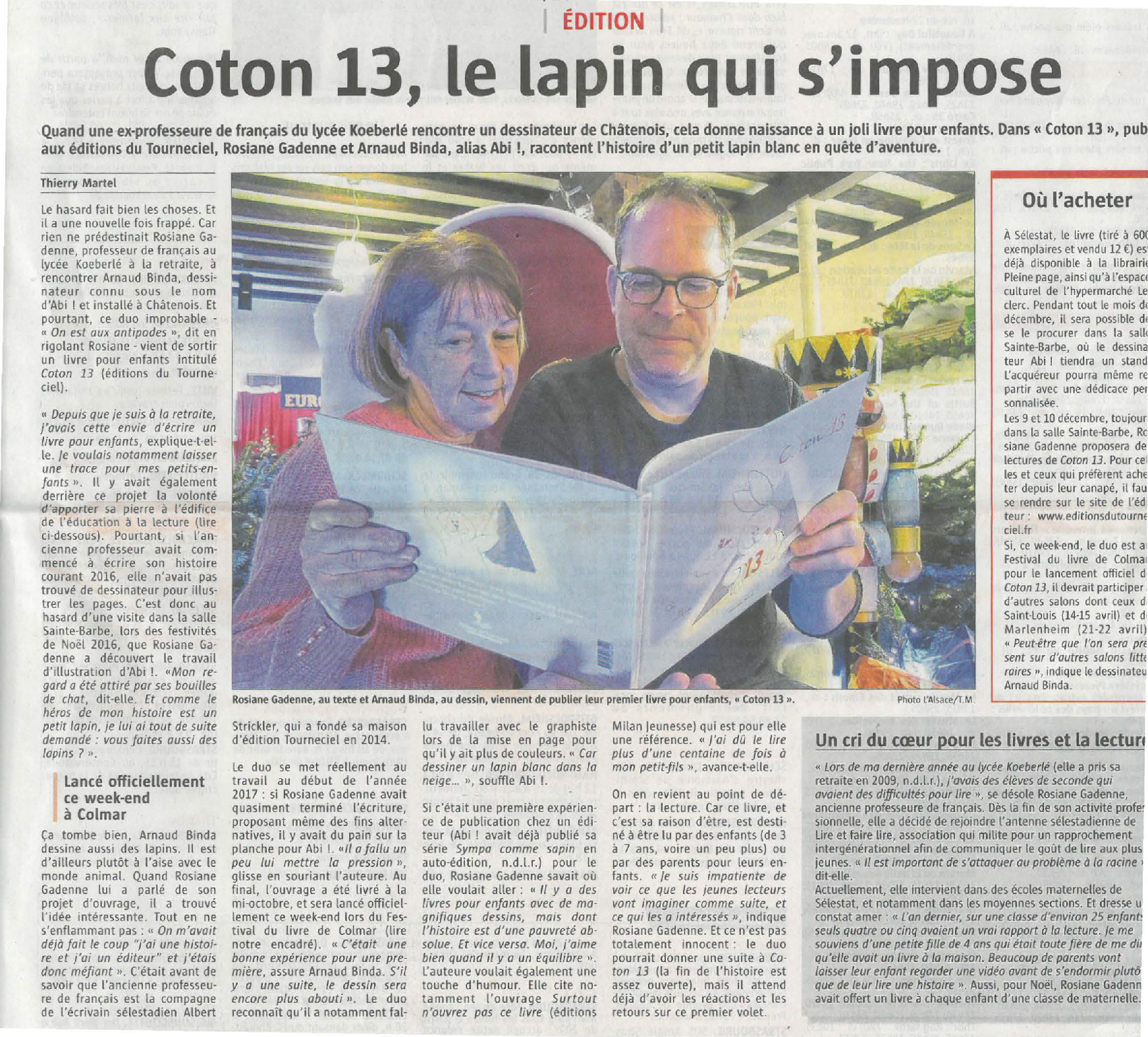 Article du Journal L'Alsace de Thierry Martel. Coton 13 aux Editions du Tourneciel.